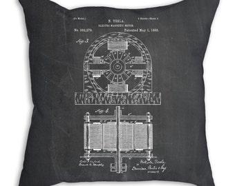 Tesla Electro Motor Pillow, Electro Magnetic Motor Pillow, Tesla Patent, Nikola Tesla, PP0173