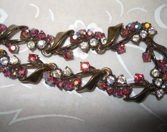 Vintage BSK Rhinestone Choker Necklace with Clusters of Aurora Borealis Stones