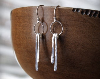 EARRINGS:  Tiny Hammered Sterling Silver Loops & Straights, Unique, Handcrafted, Artisan Quality