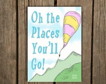 Dr. Seuss Quotes Graduation Card, Oh the Places You'll Go, Grad Card, The places you will go funny graduation card
