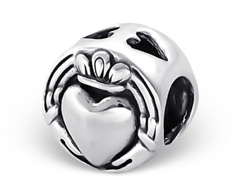 925 Sterling Silver Crown Heart Bead Charm - BD4043