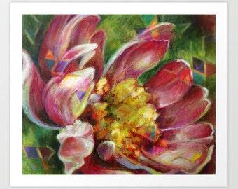 Flower Fine Art Print, Geometric Flower Print, Art Print, Acrylic and Mixed Media Giclée Print, Choose Size, Free Shipping