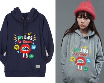 Hoodie Sweatshirts for Women Hooded Long Sleeve T Shirt LIPS