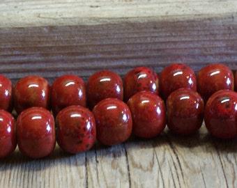 Reactive Glazed Porcelain Organic Large Rondelles - 20mm x 12mm - Watermelon Red & Black - 10 Beads