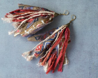Sari Silk and Wild Upcycled Silk Earrings