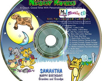This personalized CD has 22 classic nursery rhymes with your child's name song and spoken to your child