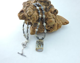 DENDRITIC AGATE natural stone necklace with Crazy Lace agate beads and hematite