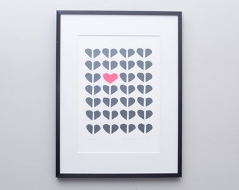 Romantic art. 'This time' minimalist hearts screenprint. Made in England. Handprinted. Valentine, engagement, wedding or anniversary gift.