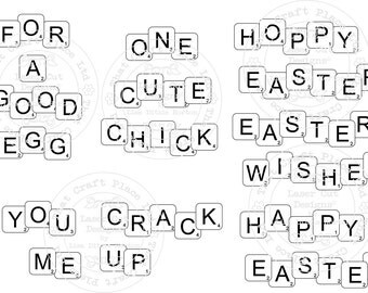 Scrabble Alphabet Digital Stamp - EASTER THEME