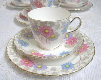 Vintage Tea Trio, Plant Tuscan China, Hand Coloured, Pastel Flowers, 1930s, 4 Sets Available