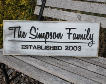 Family Name Sign, Last Name Sign Wall art, Rustic Last Name Sign, Weddign Gift Last Name Established Sign Carved Personalized