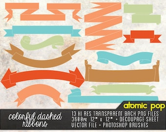 Instant Download // 14 Colorful Ribbon Banners Clipart// Digital  // Vector // Scrapbooking,  Invitations