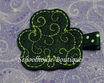 Swirl Clover St Patty Felt Hair Clips, feltie, Feltie hair clip, Hair Clip, Felt Hair Clip, Felt Hair Clippie, Party favor