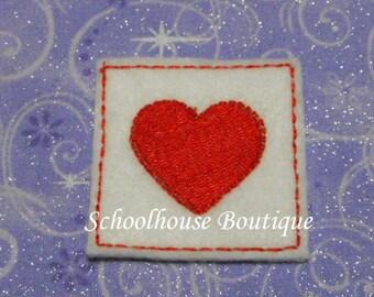 Valentine Heart Stamp felties, feltie, machine embroidered, felt applique, hair bow center, felt embellishment, felt planner clip,badge reel