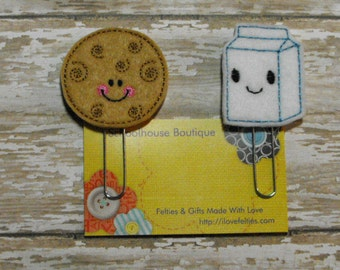 Milk and Cookie felt paperclip bookmark, felt bookmark, paperclip bookmark, feltie paperclip, christmas gift, teacher gift