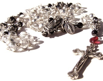 Rosary: Re-Claimed Vintage Clear Lampfoil Beads With Guadalupe Center