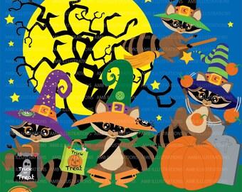 Halloween clipart, raccoons clipart, clipart, vector graphics, digital clipart, instant download, AMB-282