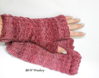 Fingerless mitts, Lattice detail, hand knit, hand spun, eco friendly, hand painted