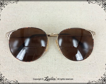 Lurveau® Authentic Vintage Oversized Oval-shaped Sunglasses with Embellishment (TortBrown)