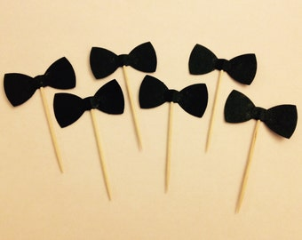 Bow Tie Cupcake Toppers, Food Picks, Table Decorations - Set of 24