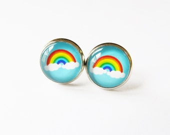 Rainbow Earrings, Colourful jewellry, Cloud earrings, Blue accessories, Silver studs, Summer earrings