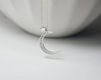 Silver CZ Moon Star Jewelry, CZ Moon Necklace, Gift  For Sisters,Best friend, mother, wife,Moon star Necklace.Gift for Best friends ,Teacher
