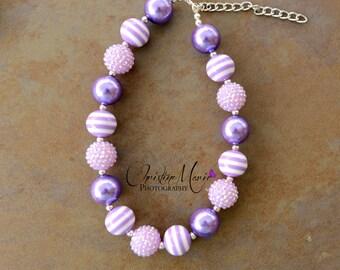Baby necklace, purple lavender necklace, baby girl necklace, ultra violet necklace, chunky necklace, children necklace, infant girl necklace