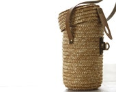 French vintage curist water glass in wicker box bag with mini basket. Lourdes curist. France 1950's. French basket. French vintage glass.