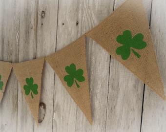 St Patricks Day Banner Shamrock Banner Shamrock Bunting Shamrock Garland Irish Decor St Patricks Day Decor Spring Banner Burlap Banner