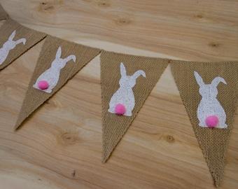 Bunny Banner Easter Banner Easter Garland Easter Bunting Easter Decor Bunny Garland Easter Bunny Burlap Banner Easter Decoration