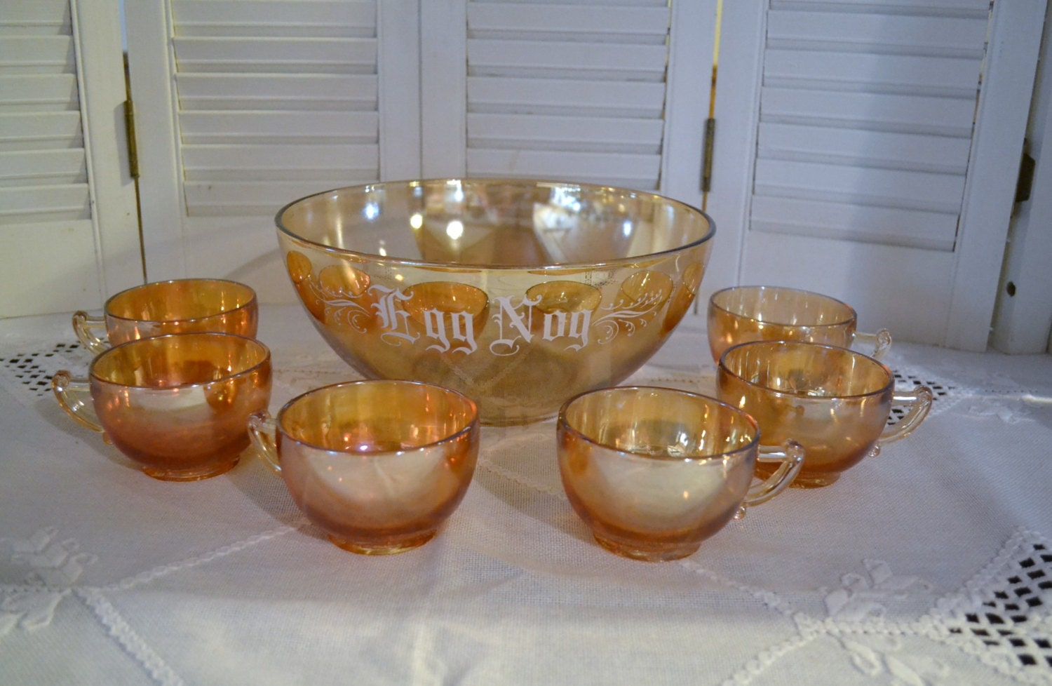 Vintage Carnival Glass Egg Nog Punch Bowl 6 Cups by PanchosPorch