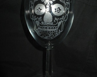 Personalised Hand Engraved Wine Glass Engraved With A Candy skull