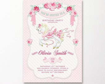 Carousel Invitation Pink White Shabby Chic Roses Vintage Birthday Party Girls Printable Digital DIY 1st 2nd 3rd 4th 5th Horse Carnival