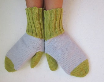 BLACK FRIDAY SALE! Knitted Wool Mittens, winter gloves, wrist warmers, women mittens, gray moss green mittens, winter accessories