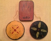Moses Eaton-Style Stenciled Folk Art Ornaments