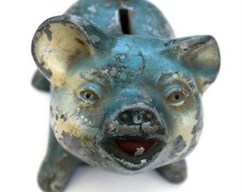 Gift for Bankers, Piggy Bank, Desk Accessory, Coin Bank, Metal Piggy Bank, Cast Iron Piggy Bank,  Cast Iron Bank, Money Bank, Vintage Pig