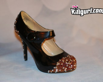 Black Mary Jane Pumps with hand placed rhinestones - size 9