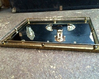 Large Decorative Gold Metal Glass Display Tray