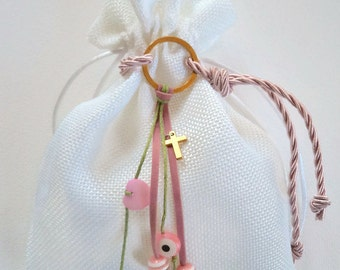 White fabric pouch with key ring-baptism favor/bomboniere