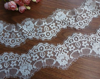 "2.6"" chantilly lace eyelash floral lace scalloped edging lace trim 3 yards"