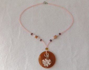 Sale - Red Adventurine and Pink Seed Bead Pendant Necklace With Lampwork Heart Charm, Pink and Lavender Necklace