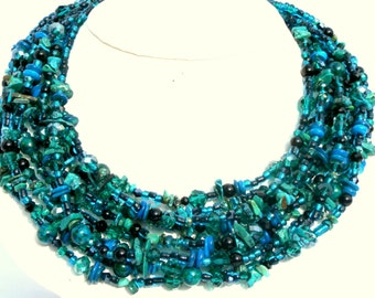 Turquoise necklace, statement necklace, gemstone necklace,crystal necklace blue and green beaded necklace,chunky necklace
