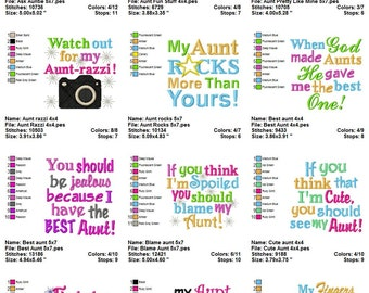 Instant Download: Just for Aunts Embroidery Design Collection I