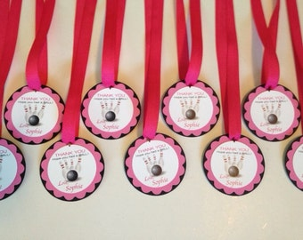 BowlingBirthday  Party  Favor Tags, Pink Theme, Personalized Tags,  Set of 12