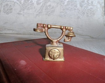 Brass French Style Telephone- Mini- Miniature Brass Phone- Made in India- Tiny Collectible-Curio Cabinet Display Collector Item