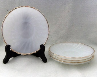 Fire King Golden Shell- White Saucer With Gold Edges