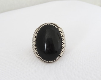 Vintage Sterling Silver Black Coral Mens Ring Size 9