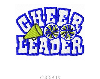 Filled Embroidery Cheerleader Embroidery Design INSTANT DOWNLOAD
