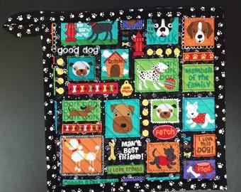 Dog potholder, whimsical dogs, man's best friend, dog kitchen, stocking stuffer, boston terrier, dog bones,crazy dog lady,gift for dog lover