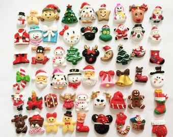 Mix 100 Pieces Christmas Xmas Resin Cabochon Flat Back Flatback DIY Craft Making Scrapbooking Embellishments Accessories
